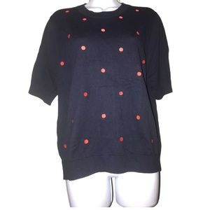 NWT J Crew Blue and Red Polka Dot Sweater